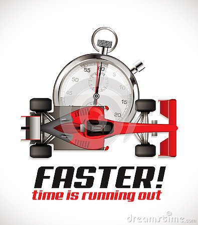 F1 - Formula one competition - racing car as running time Vector Illustration