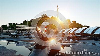 F 22 ptak drapieżny, militarny myśliwiec Militarna baza Zmierzch 3D animacja zbiory wideo
