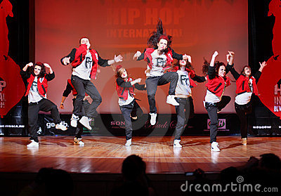 F-team group dance at Hip Hop International Cup Editorial Stock Photo
