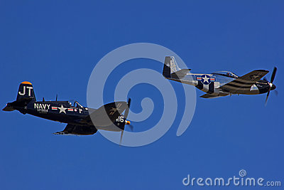 F4U Corsair and P51D Mustang Editorial Photography