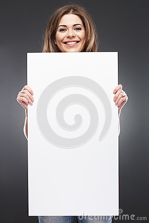 F young woman with blank white board