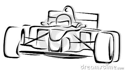 F1 Racing Car Illustration
