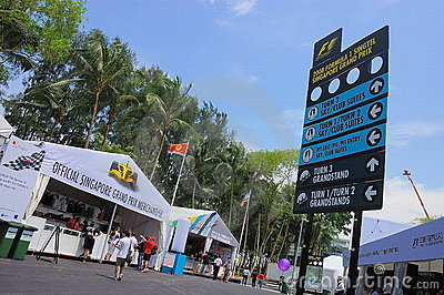 F1 Singapore Grand Prix signboard and merchandise Editorial Image