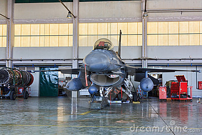 F16 on hangar for maintenance, Portugal Editorial Photo