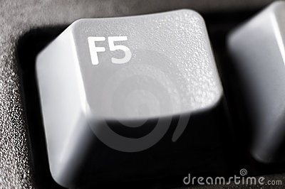 F5 refresh button extreme closeup