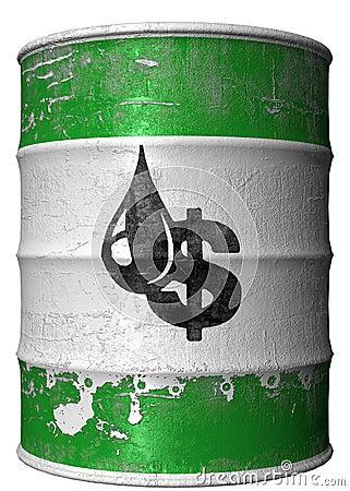 Faß mit einem Symbol des Dollars und des Schmieröls