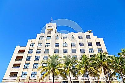 Façade of art deco building of Miami Beach, Florida.