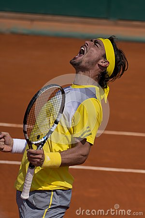 Fabio Fognini italian Tennis player exulting Editorial Stock Photo