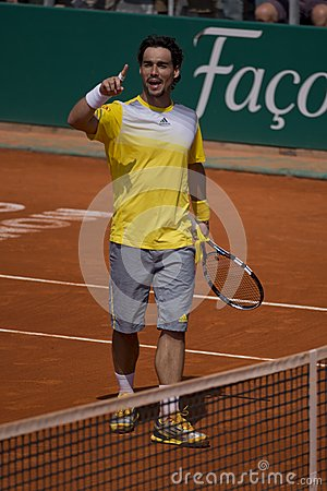Fabio Fognini italian Tennis player exulting Editorial Stock Image