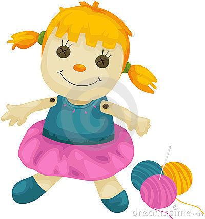 Fabric doll with yarns