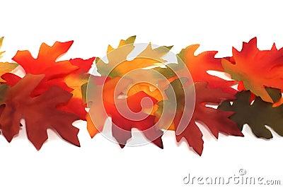 Fabric fall colored maple and oak leafs