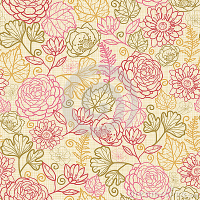 Fabric flowers seamless pattern background