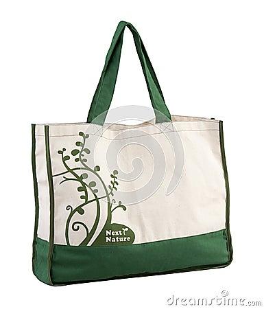 Fabric handbag isolated