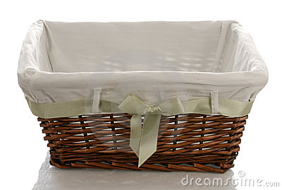Fabric lined wicker basket
