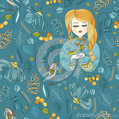 Free Fabric Pattern With Young Girl And Bird.Blue And Yellow Stock Photography - 67356862