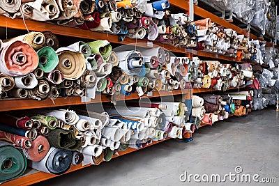 Fabric rolls.