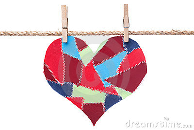 Fabric scraps heart hanging on the clothesline