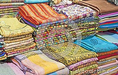 Fabrics at a market stall