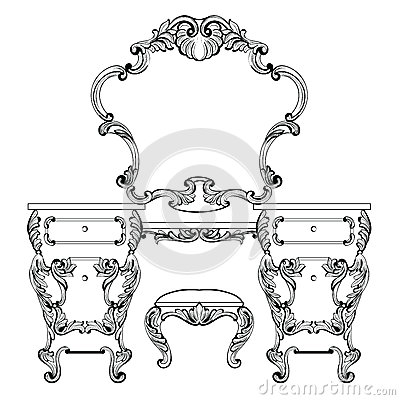 Fabulous Baroque Console Table and Mirror frame set. Vector French Luxury rich carved ornaments. Victorian wealthy Style Vector Illustration