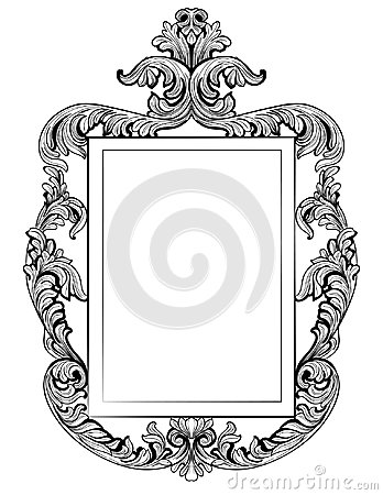 Fabulous Baroque Mirror frame set. Vector French Luxury rich carved ornaments. Victorian wealthy Style furniture Vector Illustration