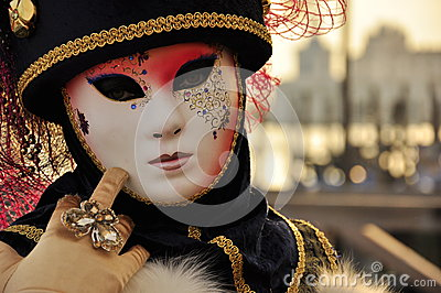 Fabulous mask at the carnival in Venice Editorial Image