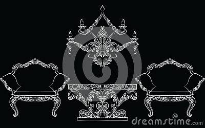 Fabulous Rich Baroque Rococo chair and table set Vector Illustration