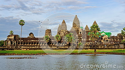 Facade of ancient Angkor Wat Temple in Cambodia