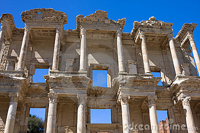 Facade of ancient Celsus Library in Ephesus