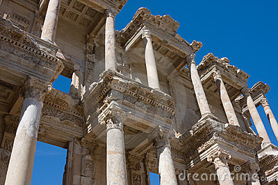 Facade of ancient Celsus Library in Turkey