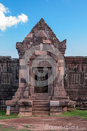 Facade of Ancient Khmer  Architecture at Wat Phou