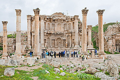 Facade of Artemis temple in ancient town Jerash Editorial Stock Photo
