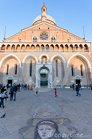 Facade of Basilica di Sant Antonio da Padova Editorial Stock Photo