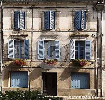 Free Facade Blue Windows Flowers Brantome France Royalty Free Stock Photos - 29448978