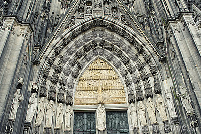 Facade of Cologne Cathedral in Germany.