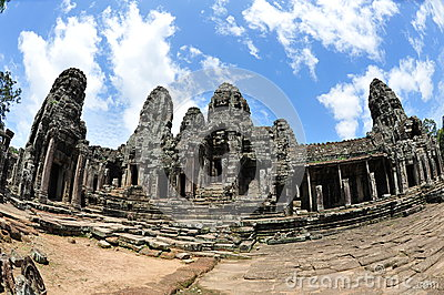 Facade and courtyard of Bayon Temple in Cambodia