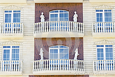 Facade decorated female sculptures
