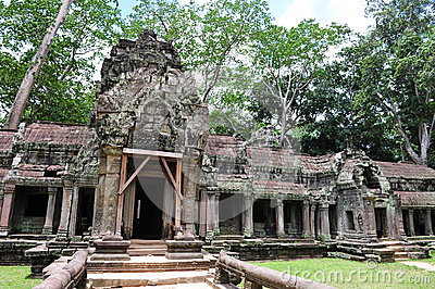 Facade and entrance of Ta Prohm temple in Cambodia