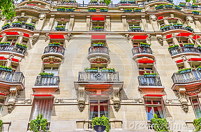 Facade of the expensive hotel, France