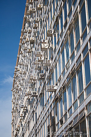 Facade of a government office building with air-co