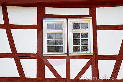 Facade of a half-timbered historic house