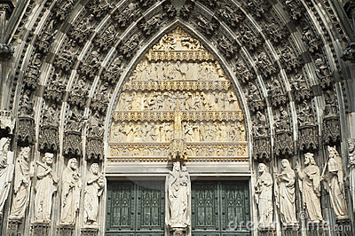 Facade of historical gothic cathedral in cologne.
