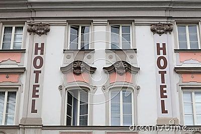 Facade of hotel Stock Photo