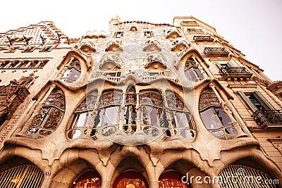 The facade of the house Casa Battlo Editorial Stock Photo