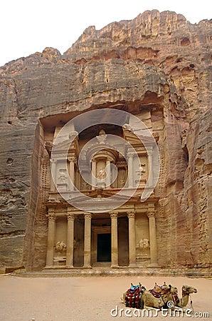 Facade of the Khasneh (Treasury) at Petra. Jordan.