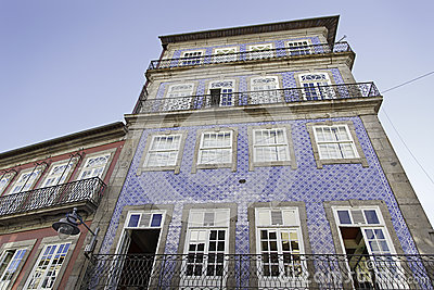 Facade of Lisbon, old houses