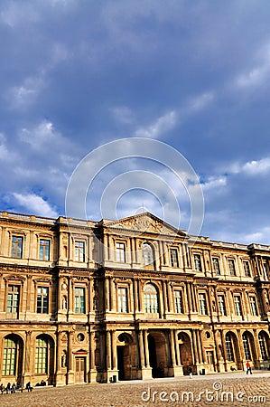 Facade of the Louvre Editorial Photography