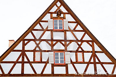 Facade of medieval house in Dinkelsbuehl