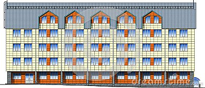 Facade of modern building in vector