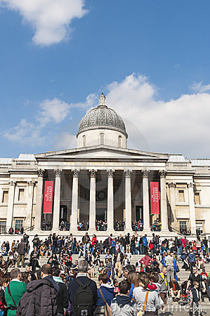 Facade of The National Gallery in London Editorial Stock Photo