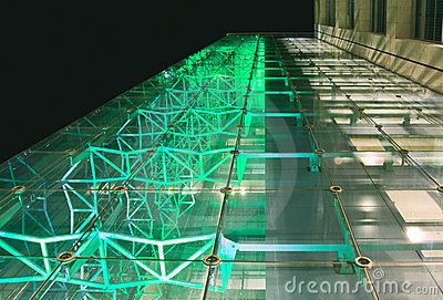Facade of office building at night